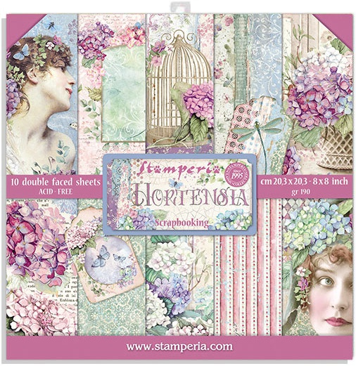 Stamperia Double-Sided Paper Pad 8X8 10/Pkg-Hortensia, 10 Designs/1 Each