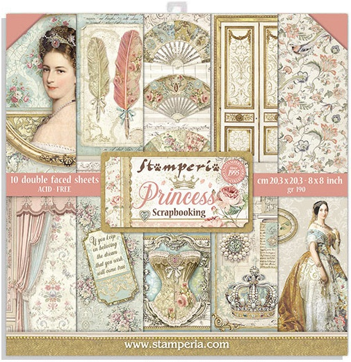 Stamperia Double-Sided Paper Pad 8X8 10/Pkg-Princess, 10 Designs/1 Each