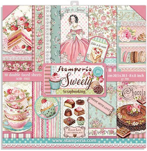 Stamperia Double-Sided Paper Pad 8X8 10/Pkg-Sweety, 10 Designs/1 Each