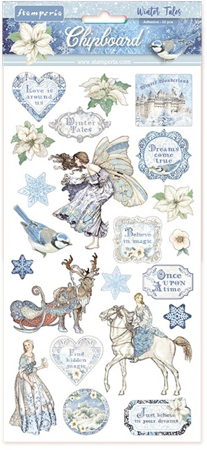 Stamperia Adhesive Chipboard 6X12-Winter Tales