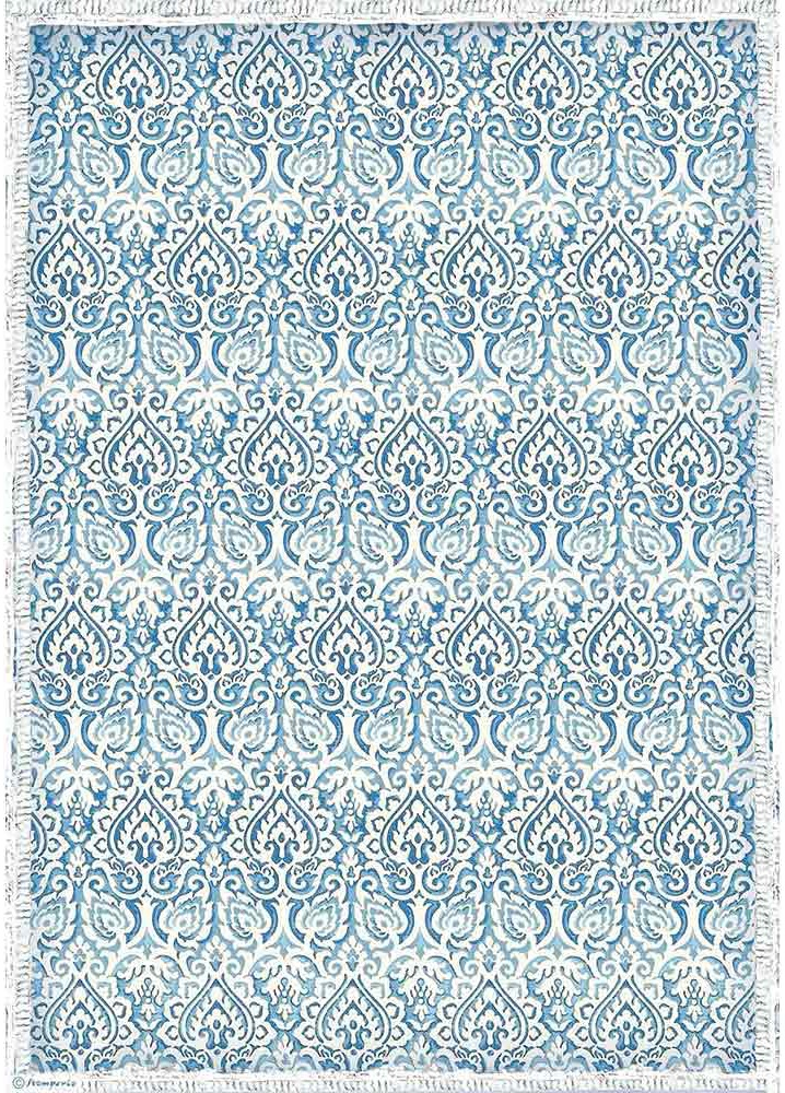 Stamperia Rice Paper Sheet A3-Damask Blue, Winter Tales