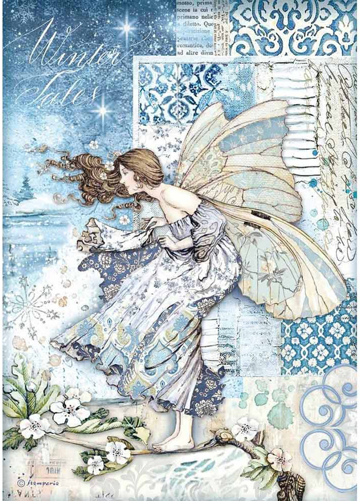 Stamperia Rice Paper Sheet A4-Fairy In The Wind, Winter Tales