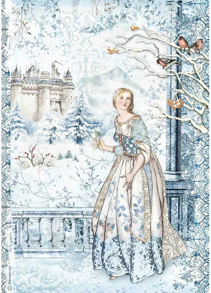 Stamperia Rice Paper Sheet A4-Fairy In The Snow, Winter Tales