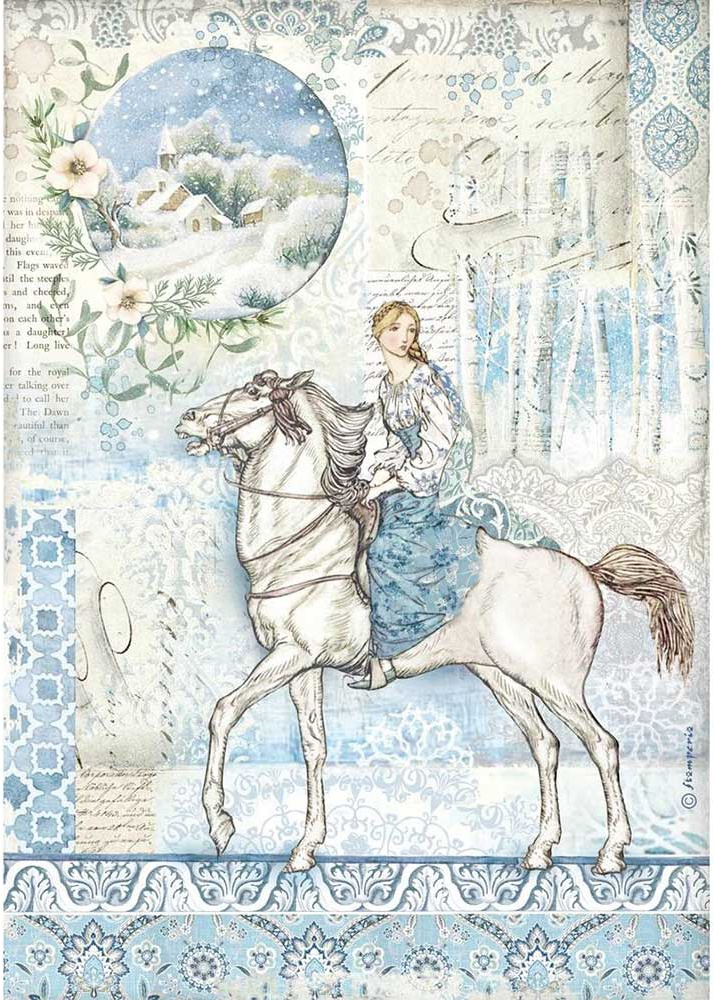 Stamperia Rice Paper Sheet A4-Horse, Winter Tales