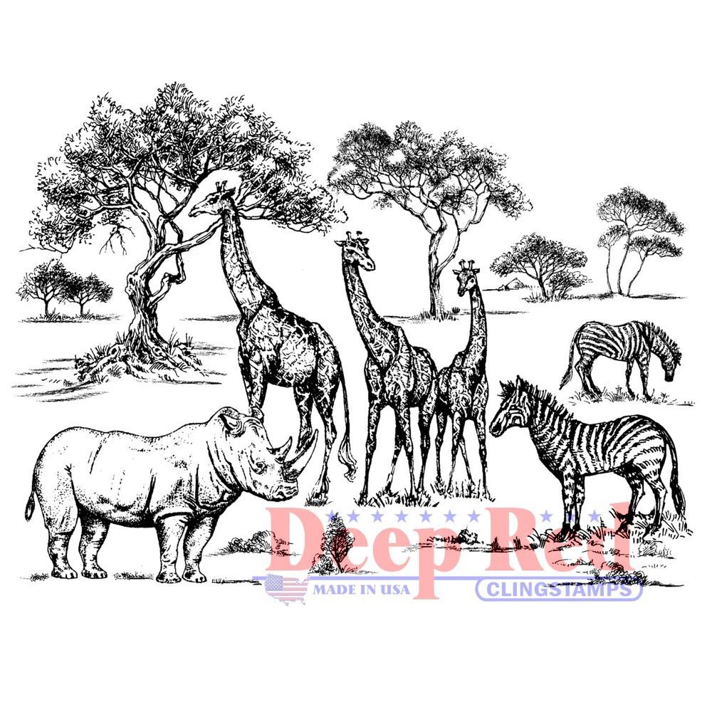 Deep Red Cling Stamp 4X3-Safari