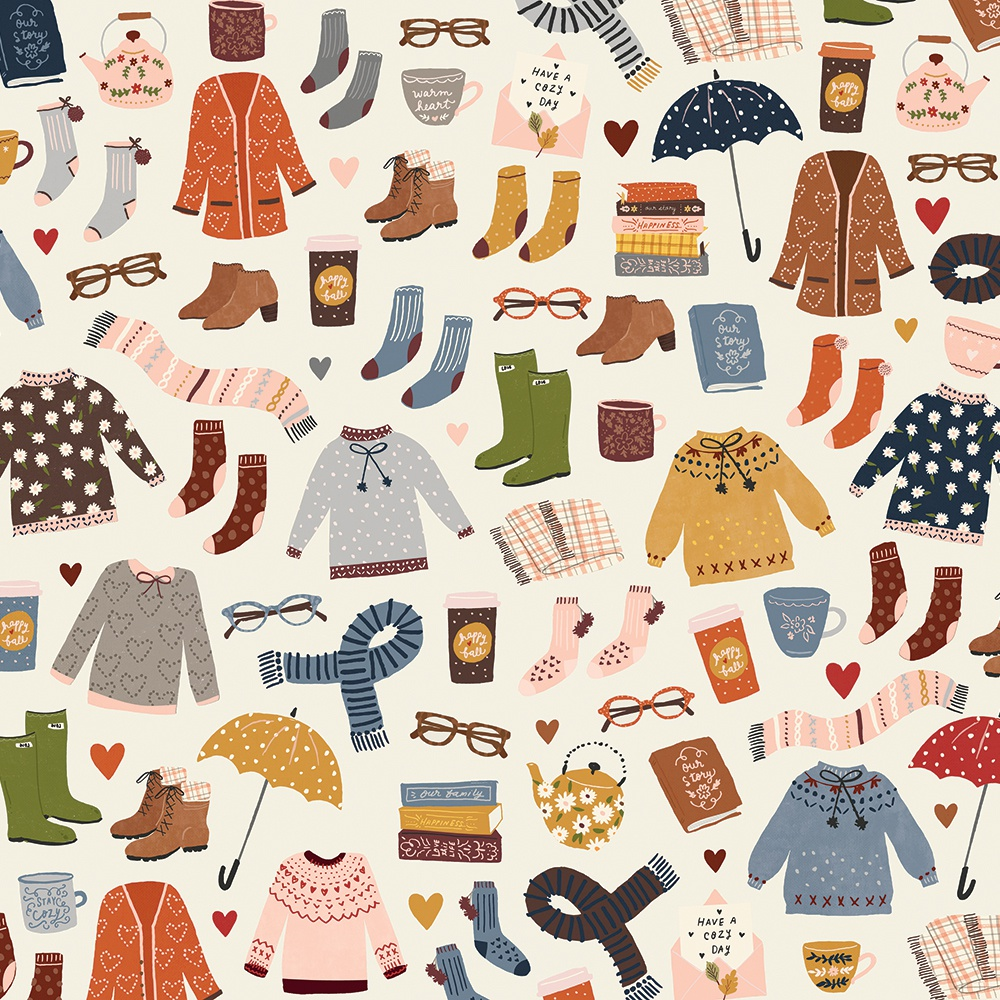 Cozy Days Double-Sided Cardstock 12X12-Sweaters & Boots