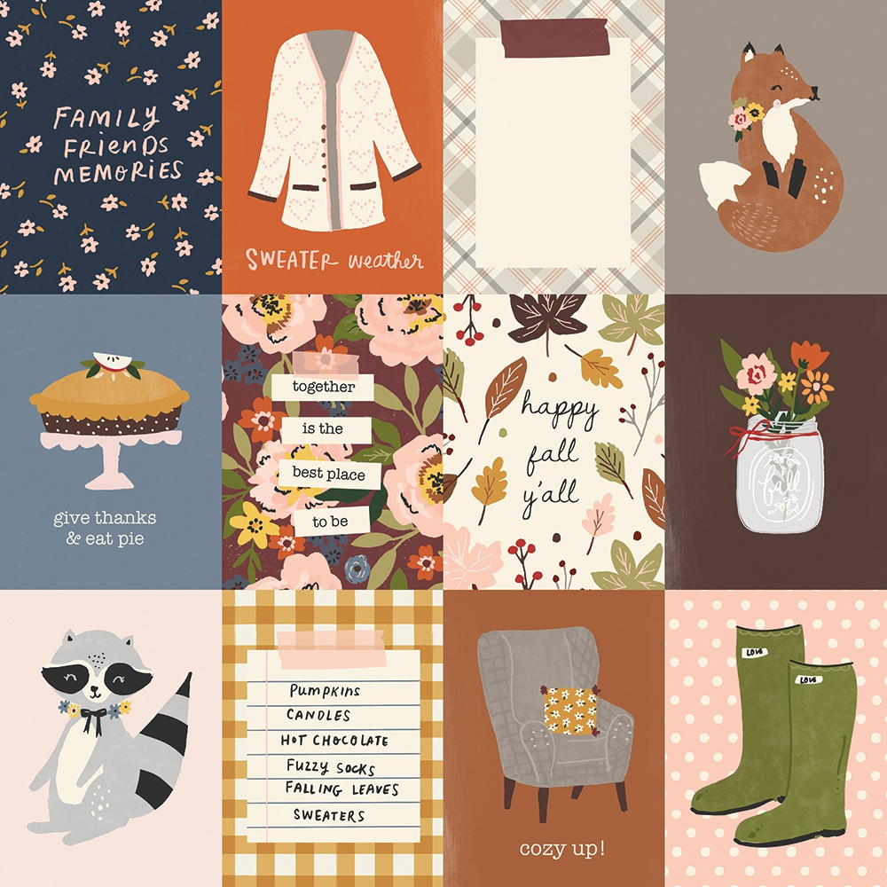 Cozy Days Double-Sided Cardstock 12X12-3X4 Elements