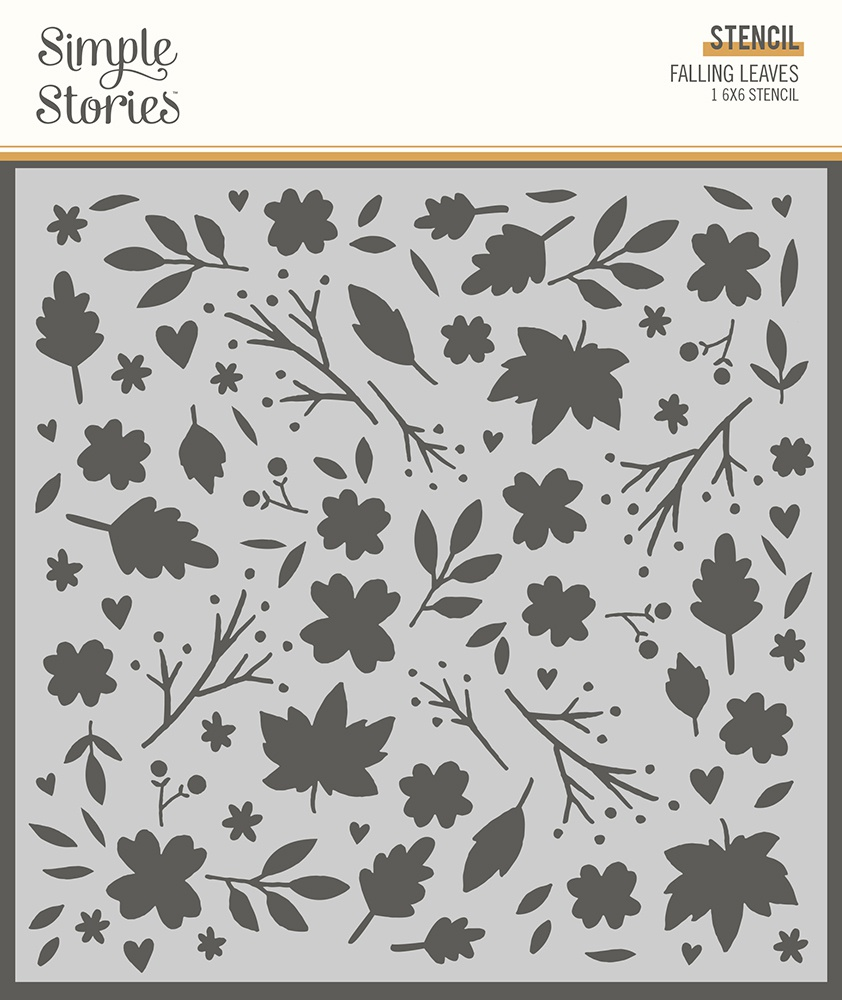 Simple Stories Cozy Days Stencil 6X6-Falling Leaves