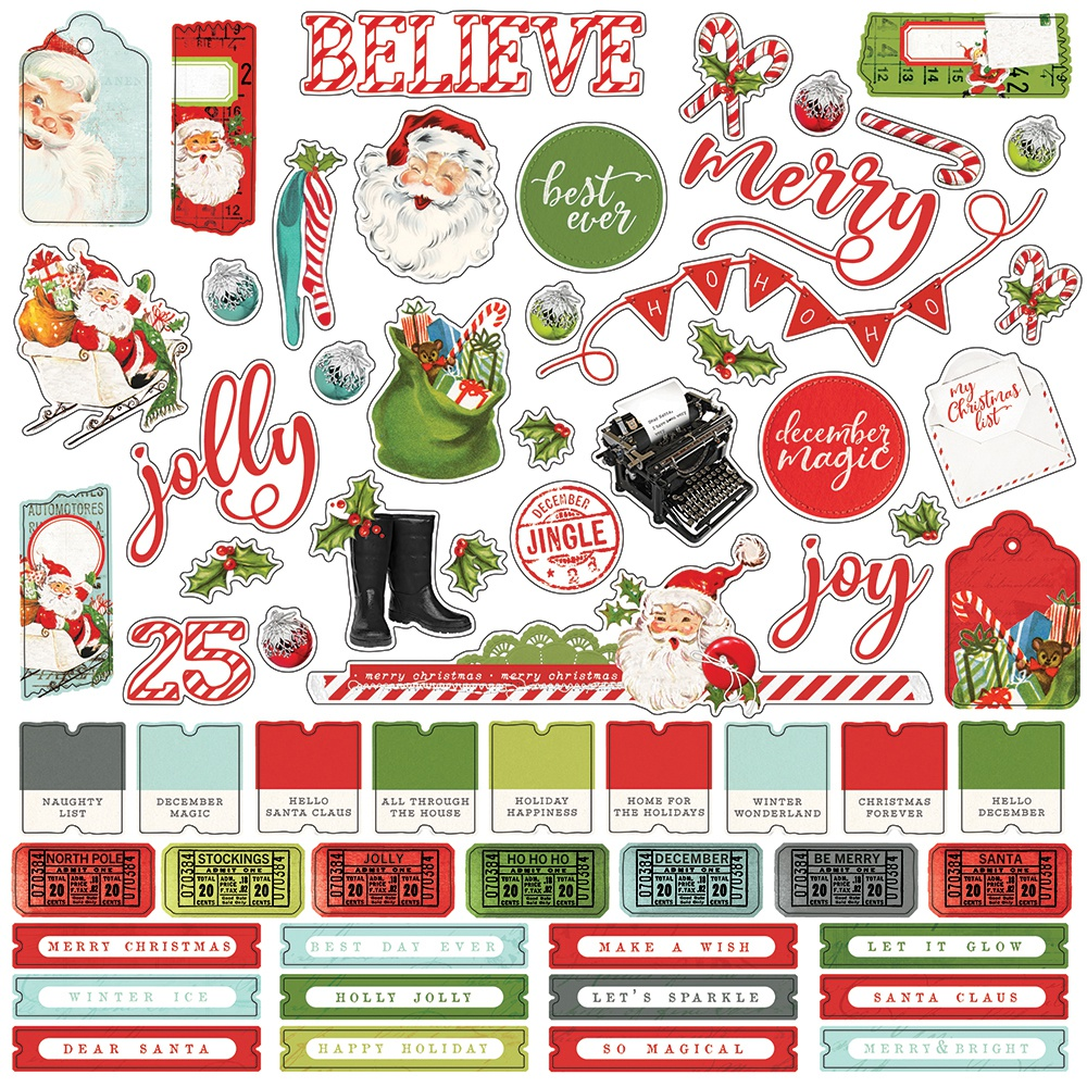 Simple Vintage North Pole Cardstock Stickers 12X12-Combo