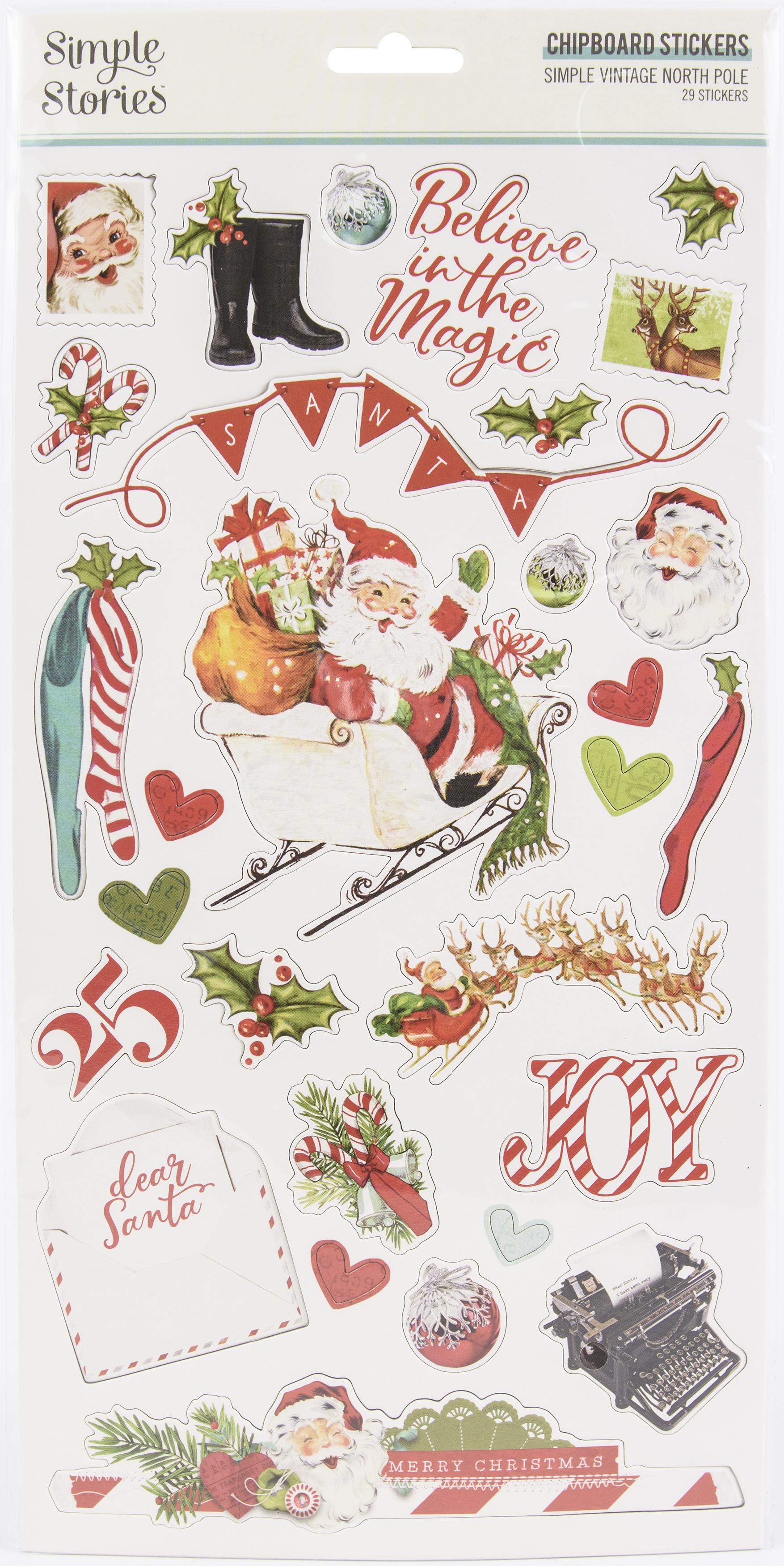 Simple Vintage North Pole Chipboard Stickers 6X12-