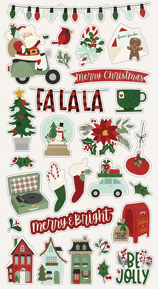 Jingle All The Way Chipboard Stickers 6X12-
