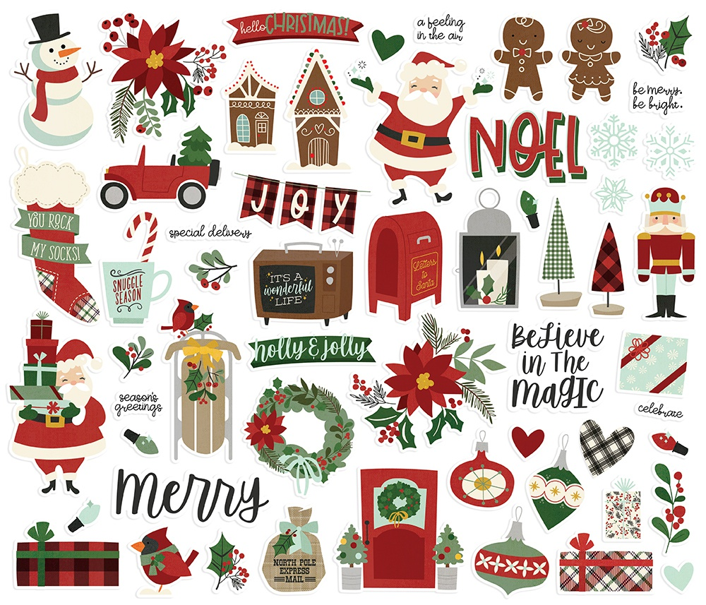 Simple Stories Jingle All The Way Bits & Pieces Die-Cuts 57/Pkg-