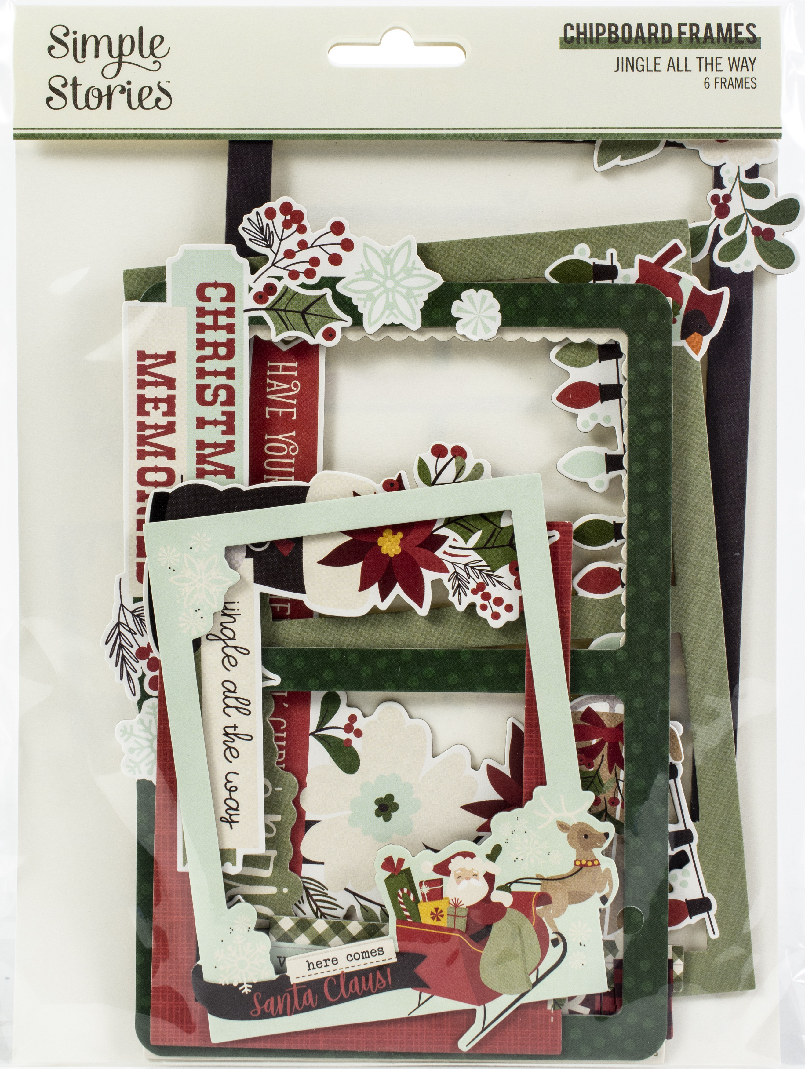 Jingle All The Way Layered Chipboard Frames Die-Cuts 6/Pkg-