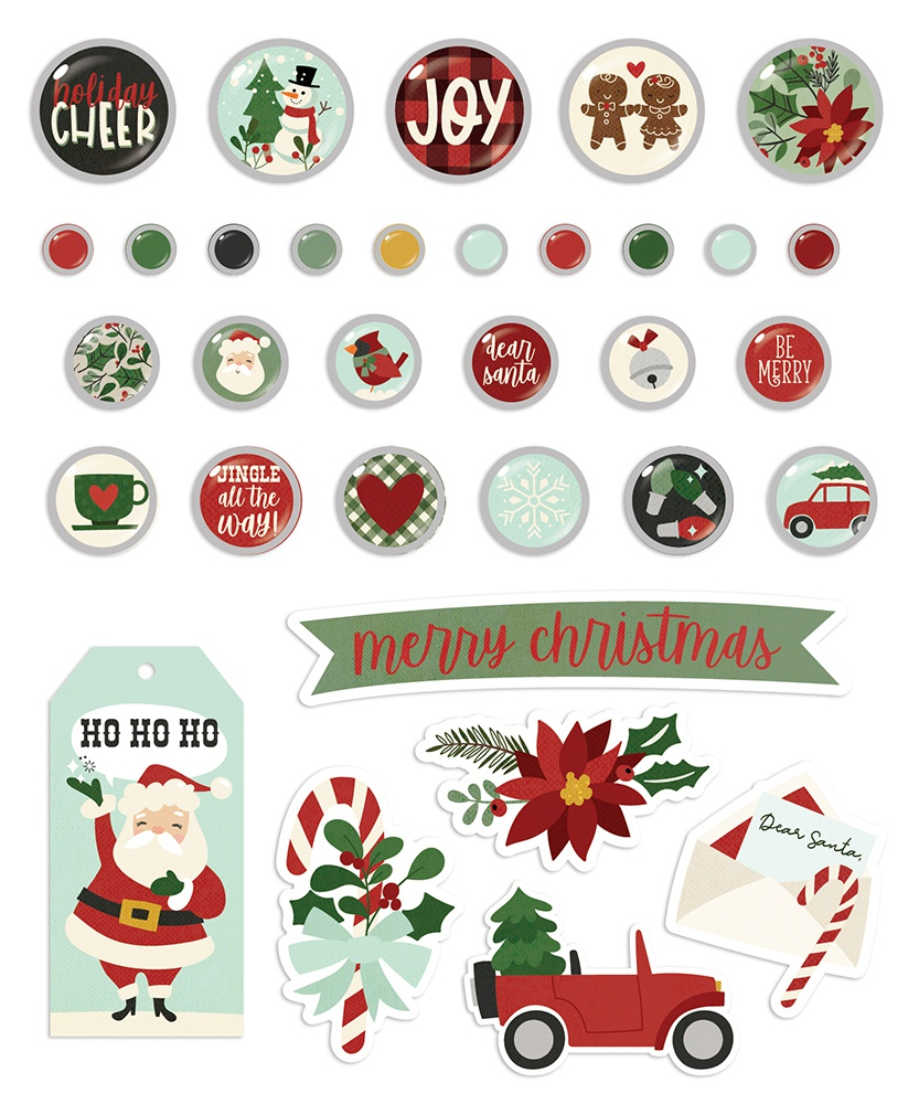 Jingle All The Way Decorative Brads 33/Pkg-