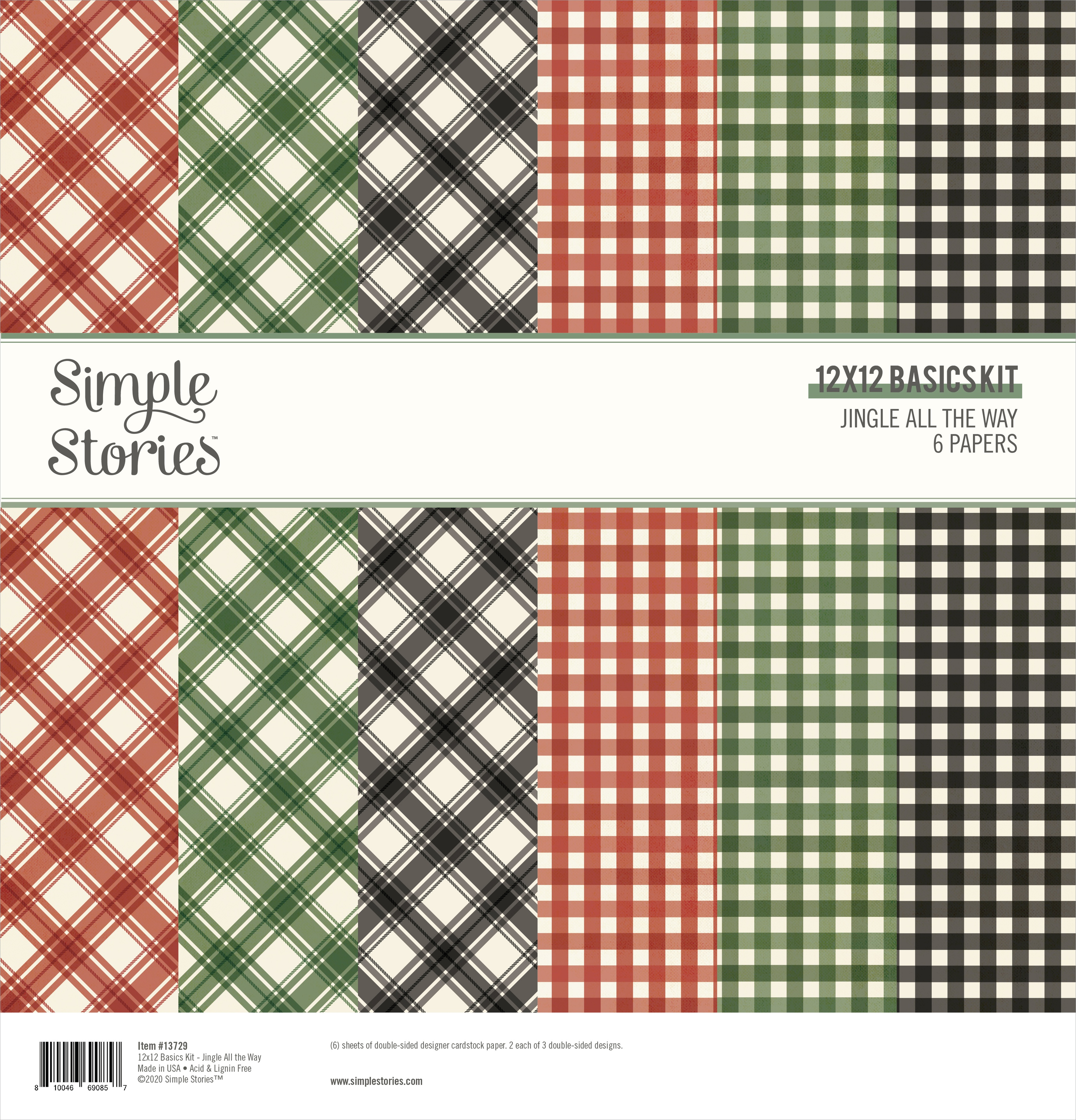 Simple Stories Basics Double-Sided Paper Pack 12X12 6/Pkg-Jingle All The Way