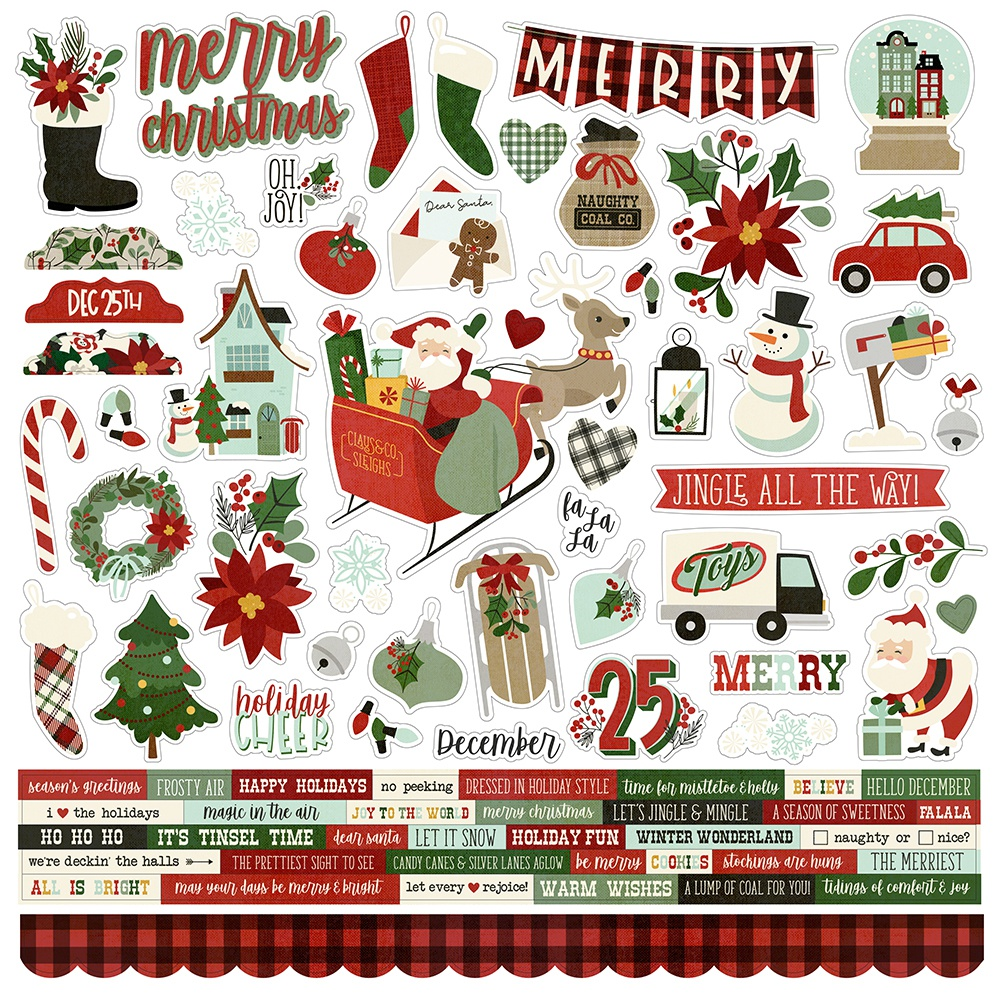 Jingle All The Way Cardstock Stickers 12X12-Combo