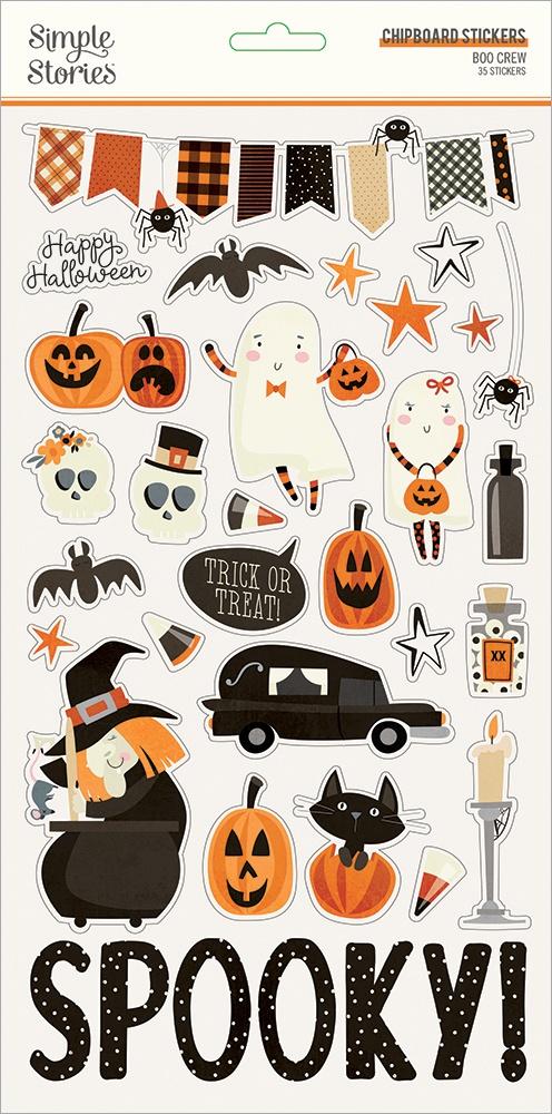 Boo Crew Chipboard Stickers 6X12-