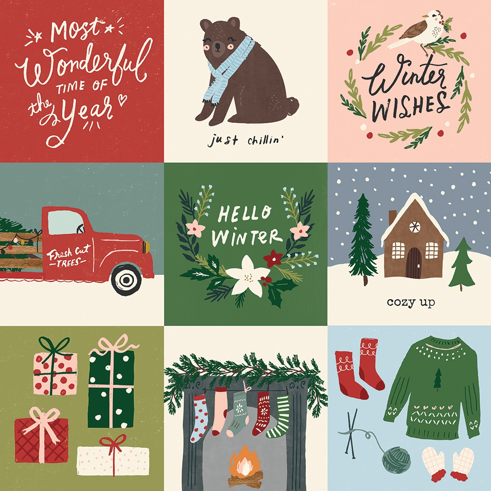 Winter Cottage Double-Sided Cardstock 12X12-4X4 Elements