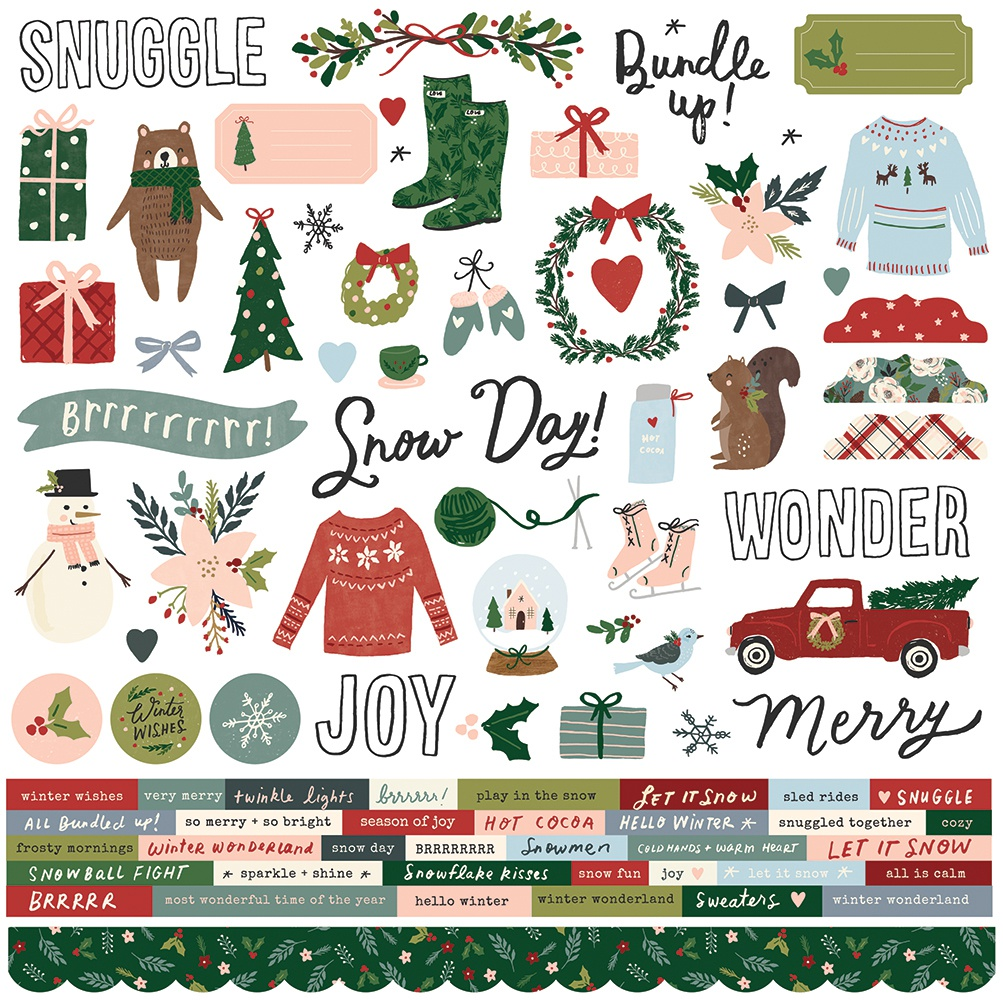 Winter Cottage Cardstock Stickers 12X12-Combo