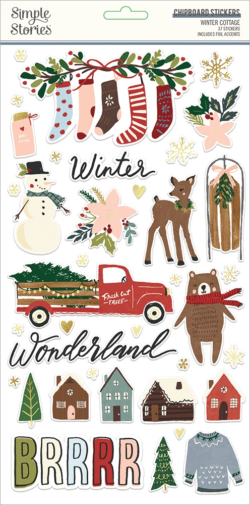 Winter Cottage Chipboard Stickers 6X12-