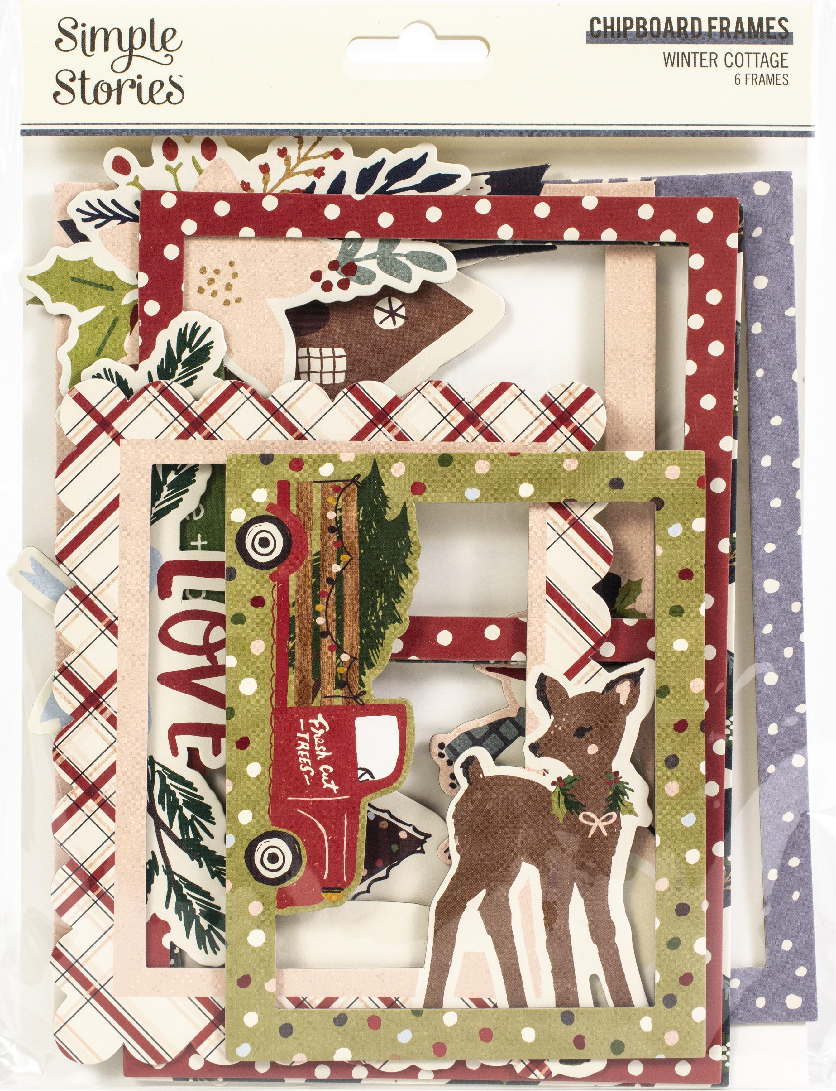 Winter Cottage Layered Chipboard Frames Die-Cuts 6/Pkg-
