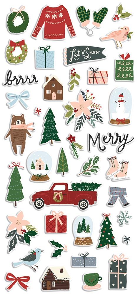 Winter Cottage Puffy Stickers 4X6 2/Pkg-