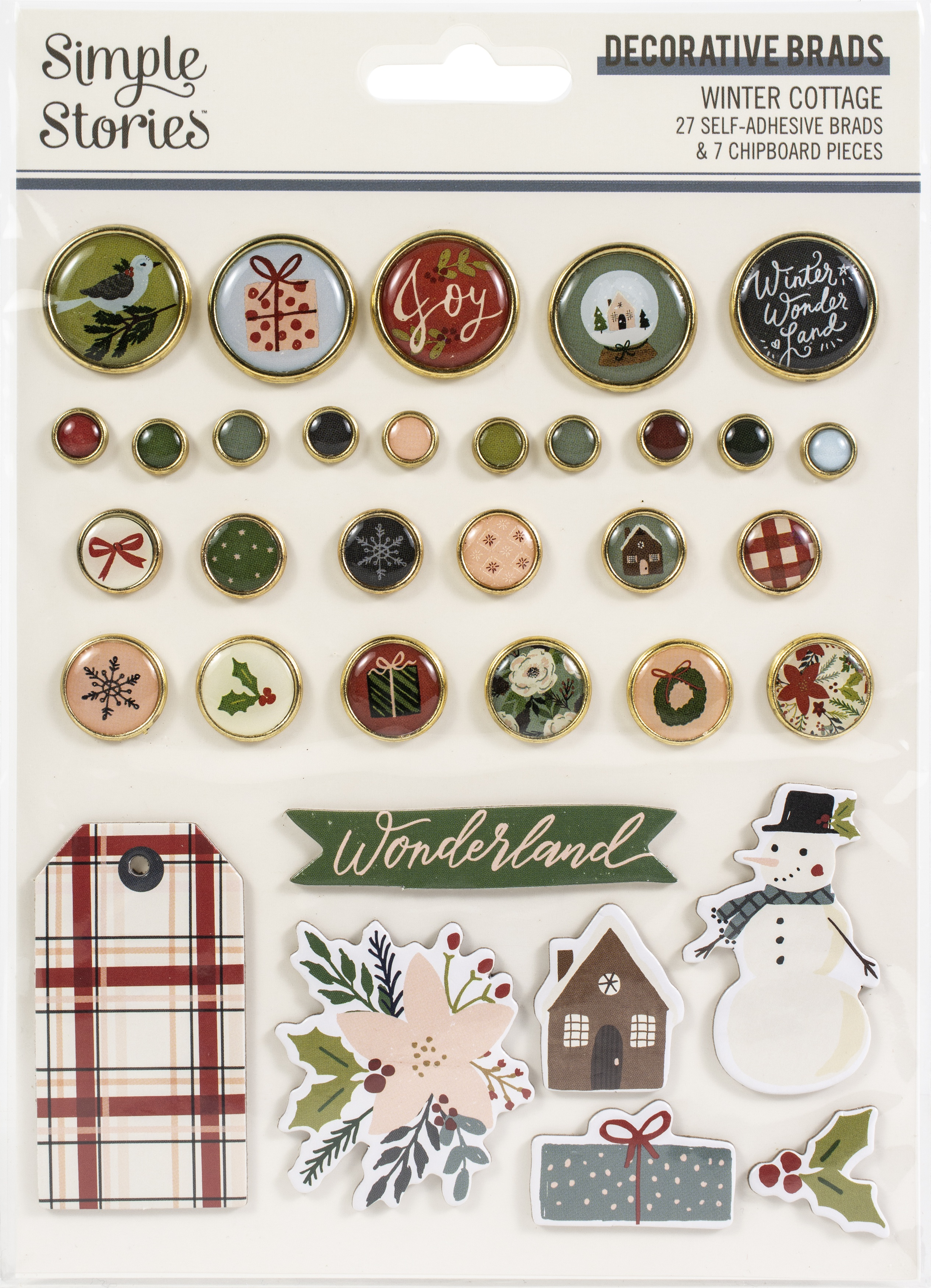 Winter Cottage Decorative Brads 34/Pkg-
