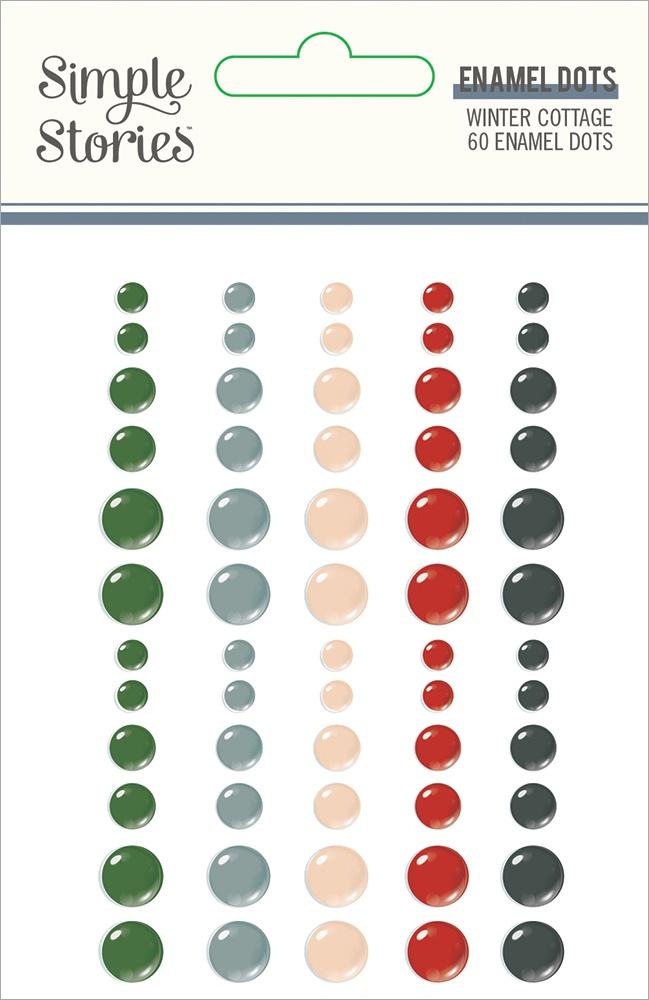 Winter Cottage Enamel Dots Embellishments 60/Pkg-