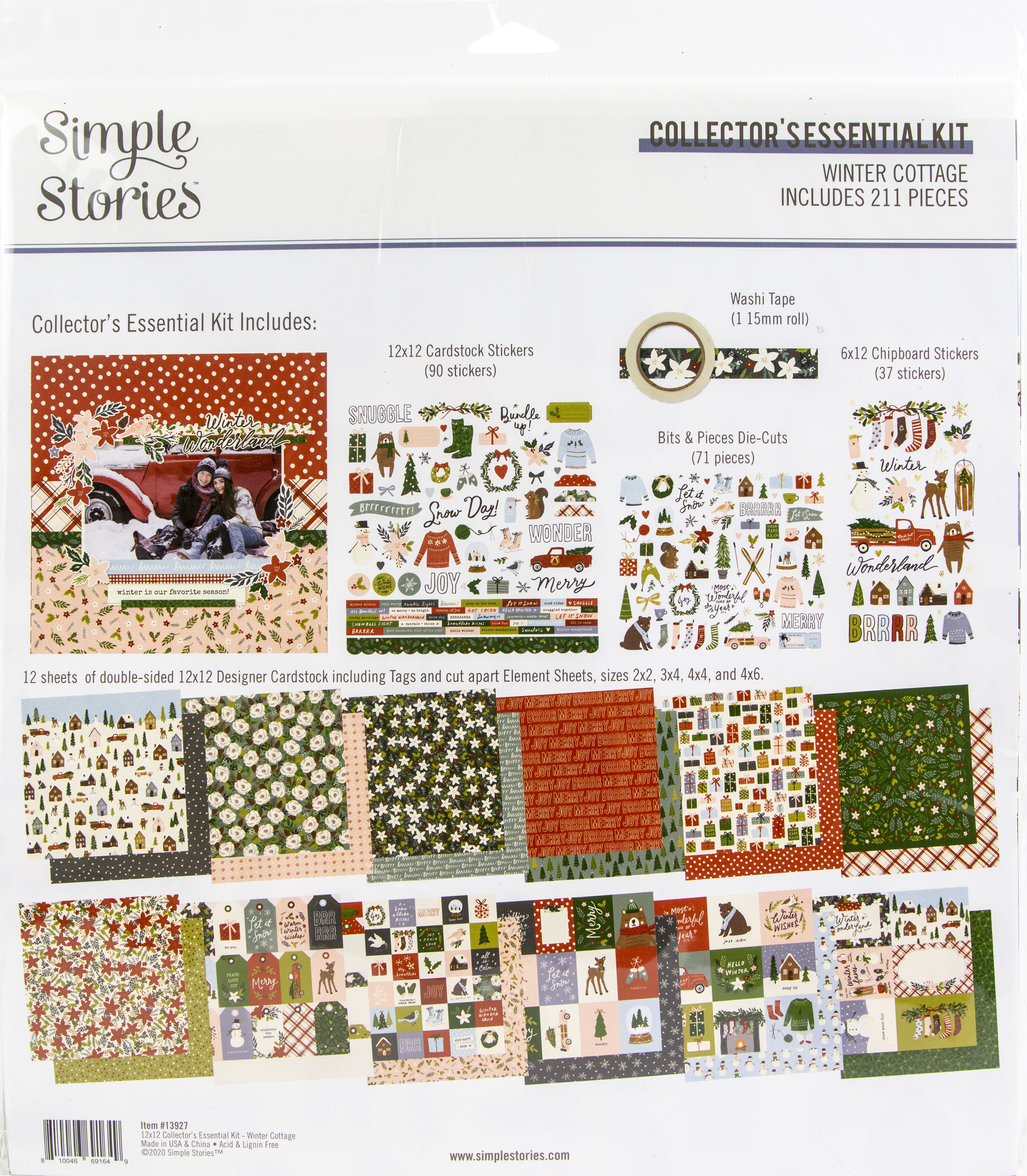 Simple Stories Collector's Essential Kit 12X12-Winter Cottage
