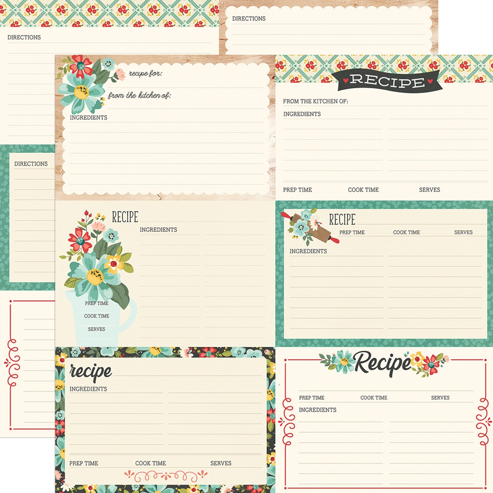 Apron Strings Double-Sided Cardstock 12X12-Recipe Cards