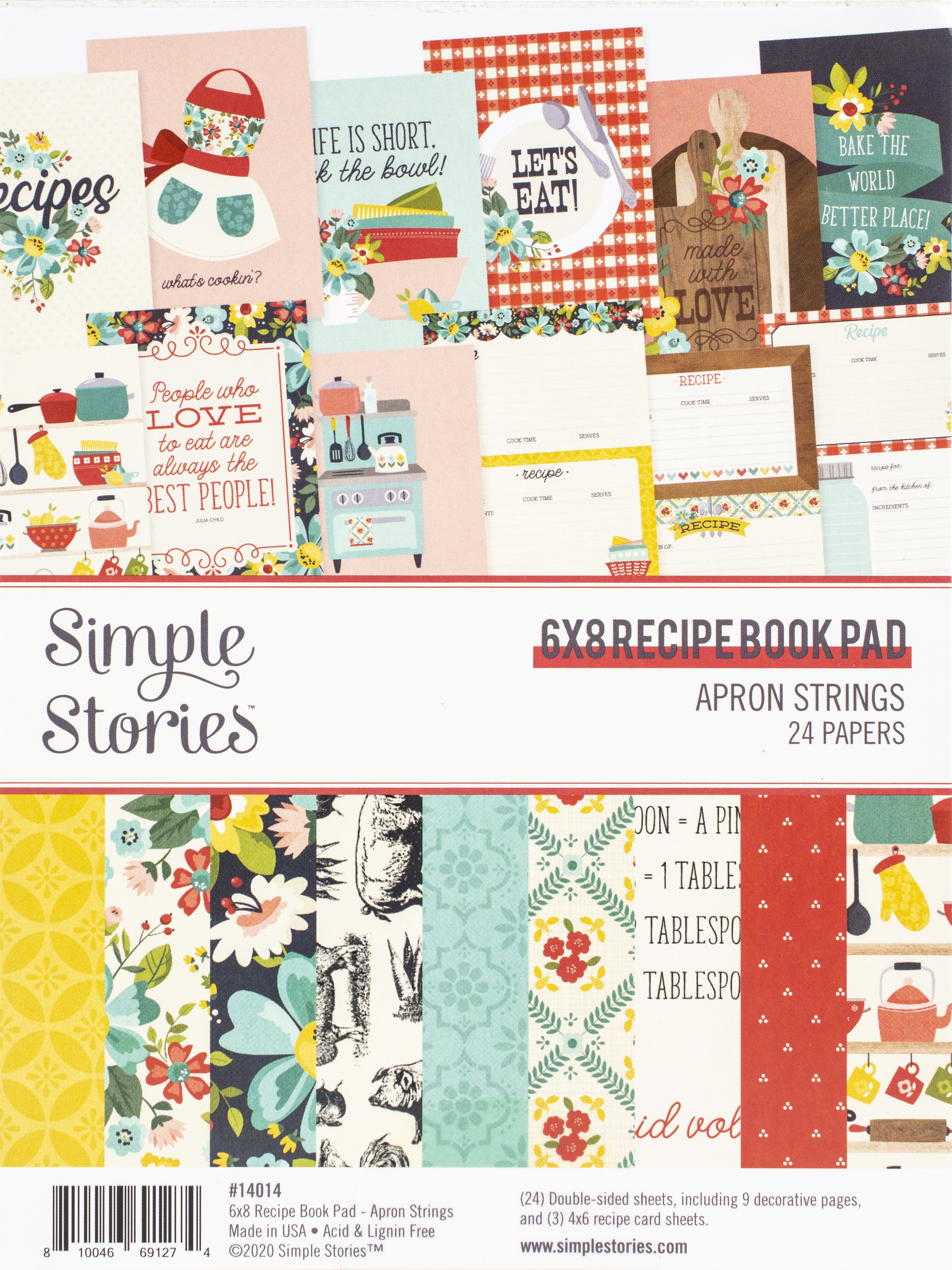 Simple Stories Double-Sided Paper Pad 6X8 24/Pkg-Apron Strings Recipe Book