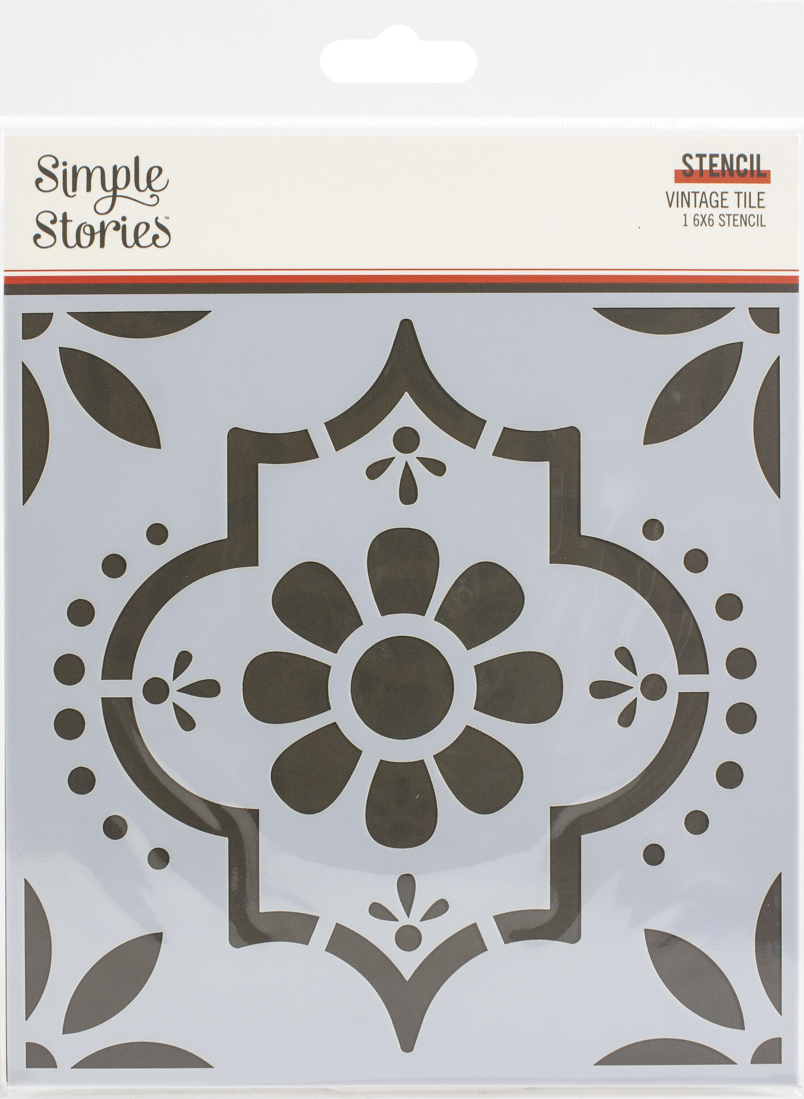 Simple Stories Apron Strings Stencil 6X6-Vintage Tile
