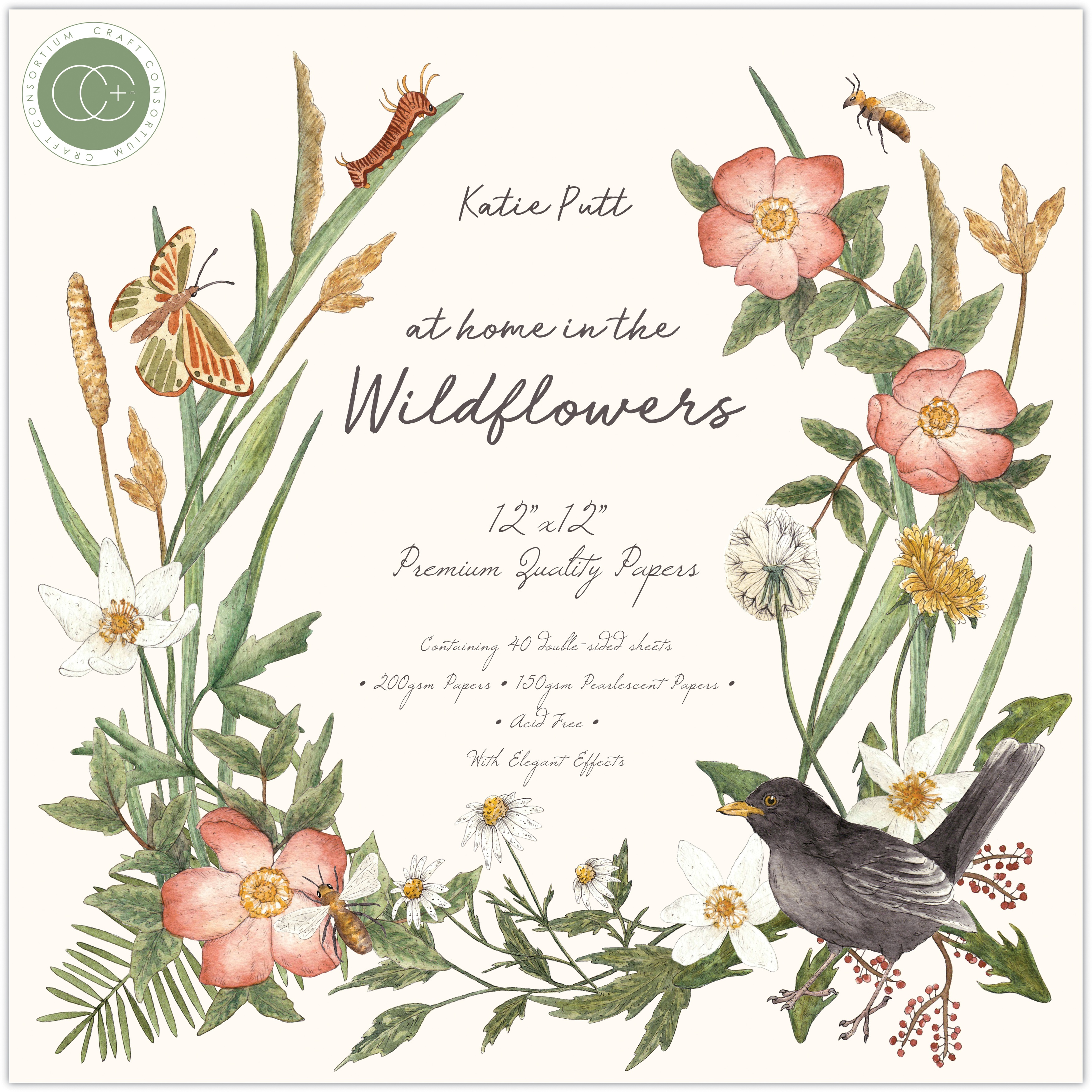 Craft Consortium Double-Sided Paper Pad 12X12 40/Pkg-At Home In The Wildflowers