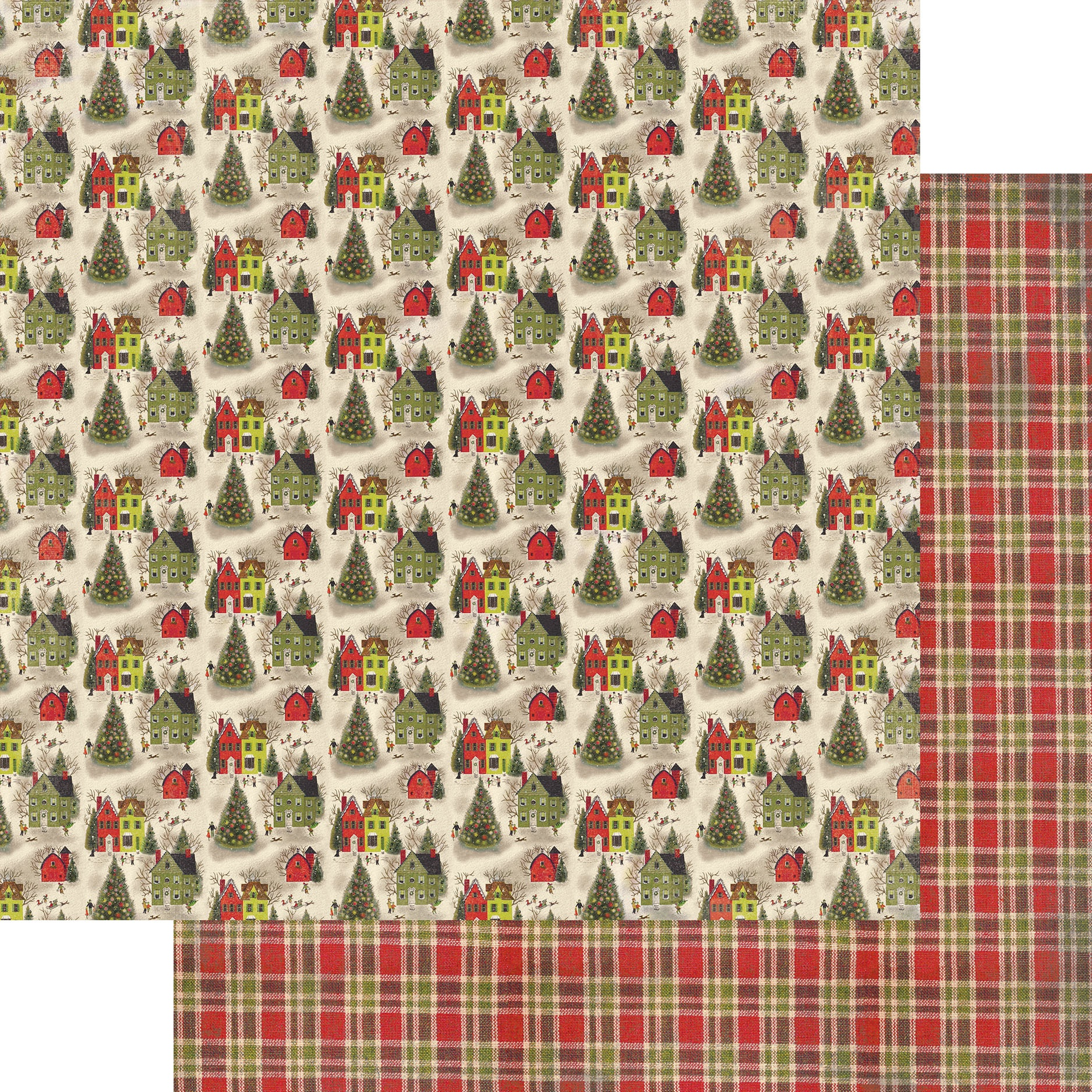 A Magical Christmas Double-Sided Cardstock 12X12-#6 Diagonal Plaid