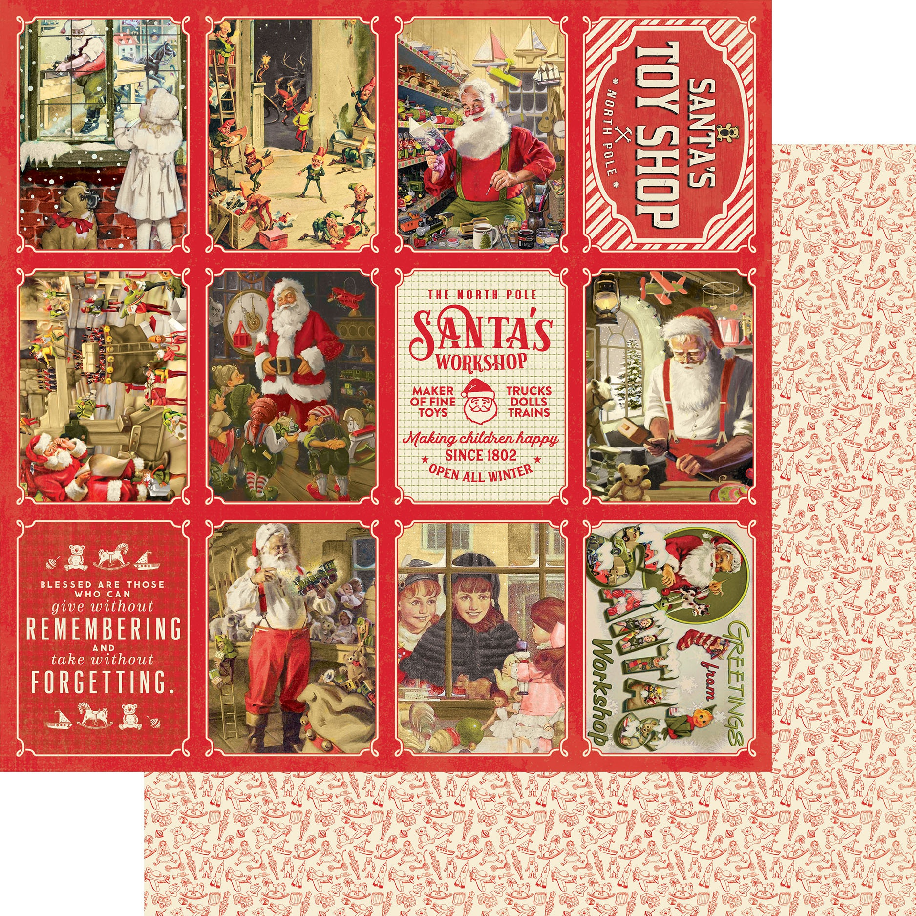 Authentique A Magical Christmas Double-Sided Cardstock 12X12- #7 Toy Shop 3X4 Cut-Aparts