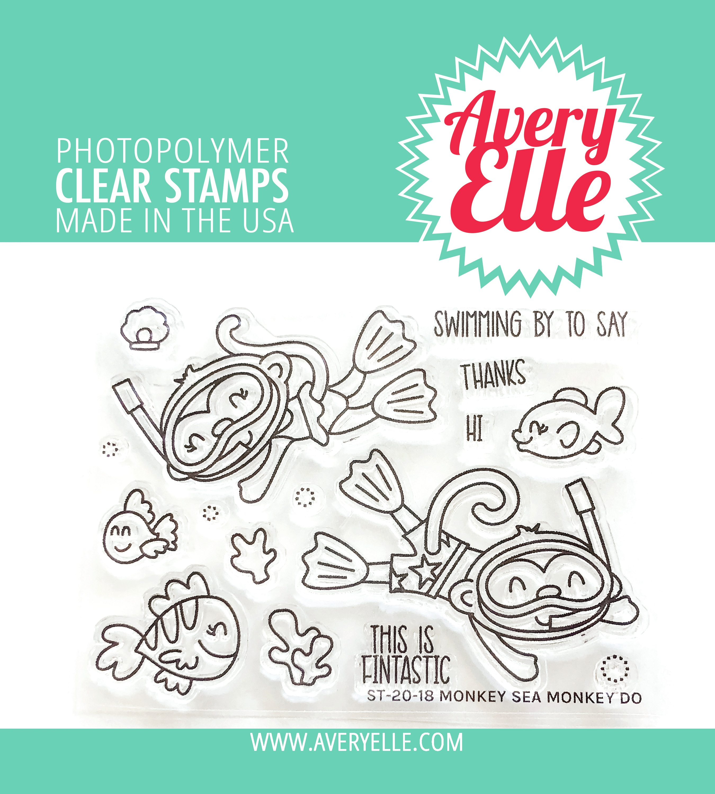 Avery Elle Clear Stamp Set 4X3-Monkey Sea Monkey Do