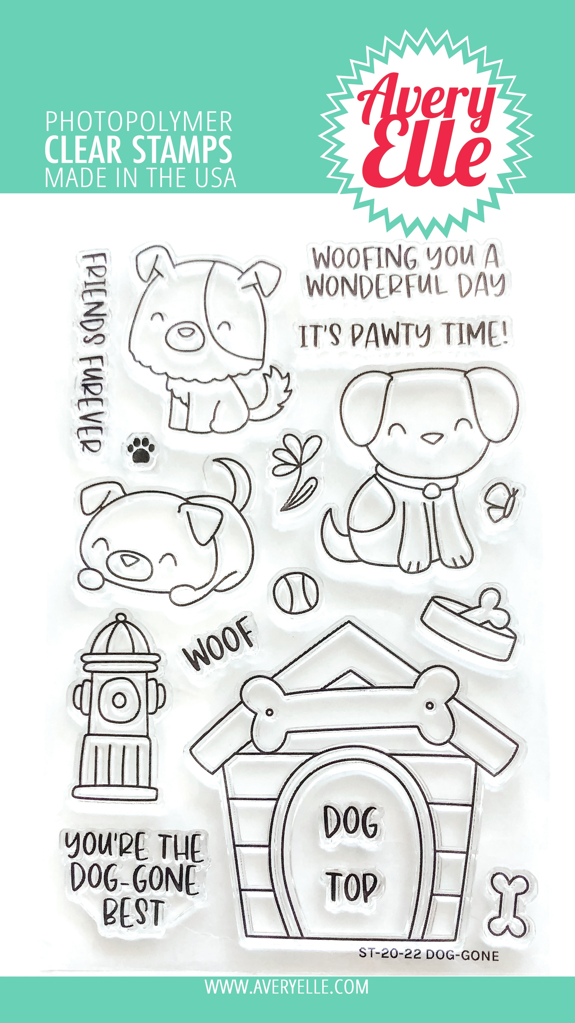 Avery Elle Clear Stamp Set 4X6-Dog-Gone