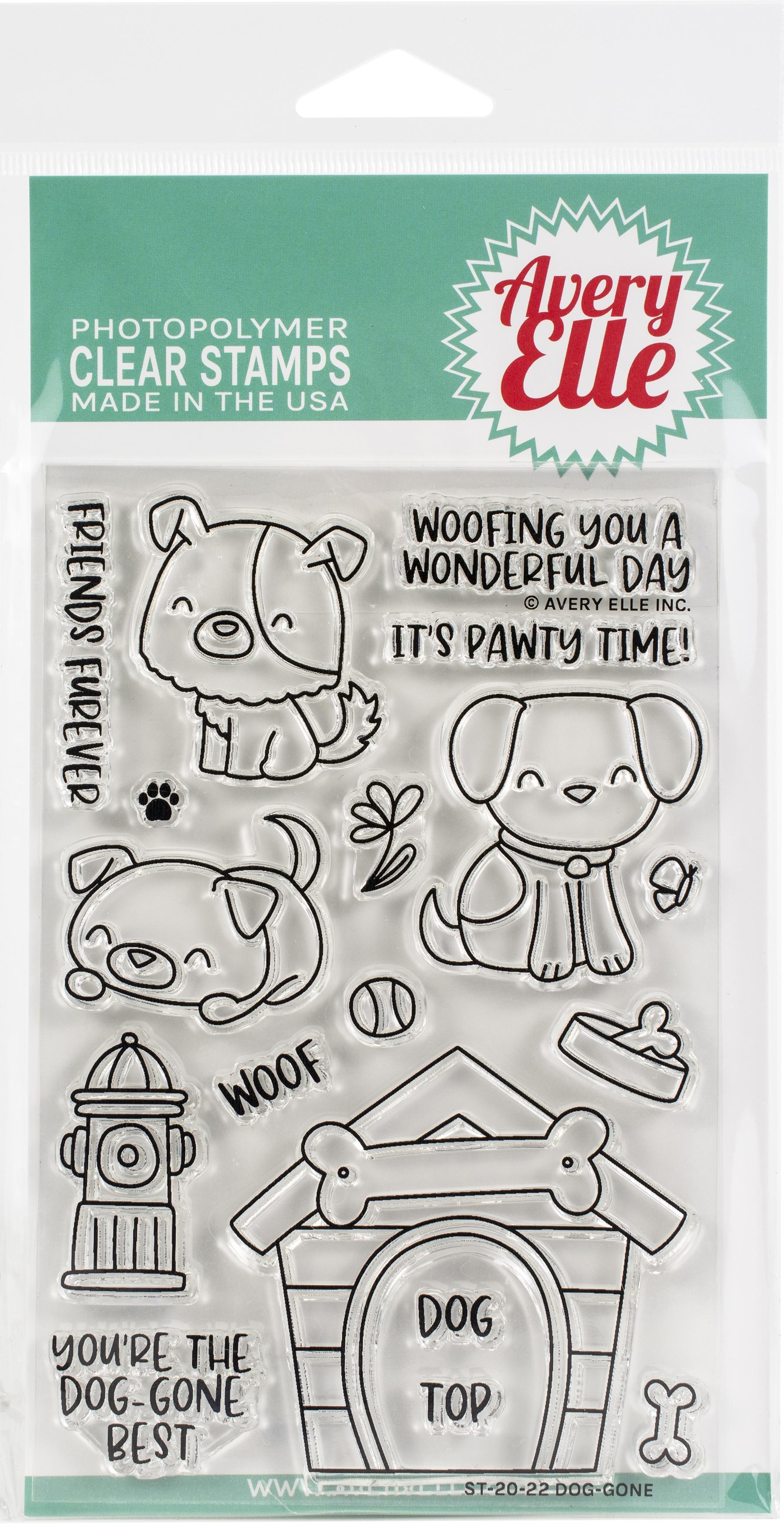 Avery Elle Clear Stamp Set 4X6-Dog-Gone