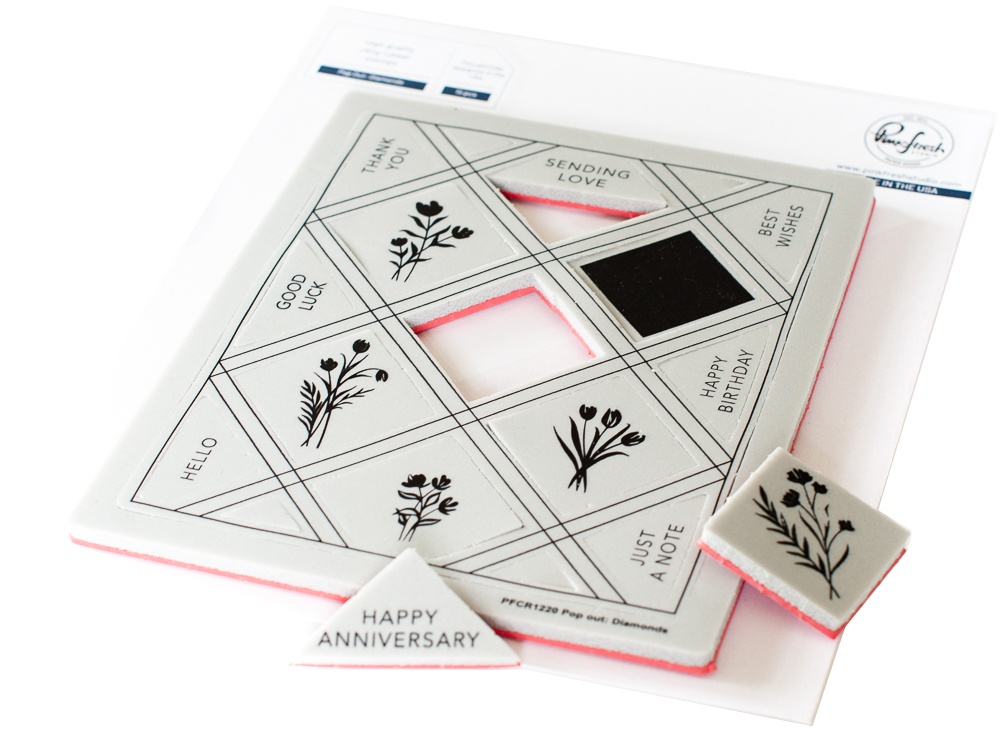 Pinkfresh Studio Cling Rubber Background Stamp Set - Pop-Out Diamonds (A2)