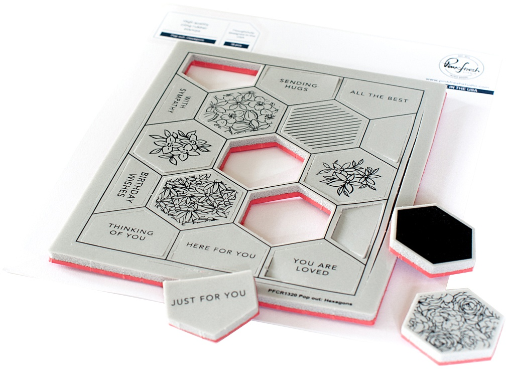 Pinkfresh - Cling Rubber Background Stamp Set - Pop-Out Hexagons