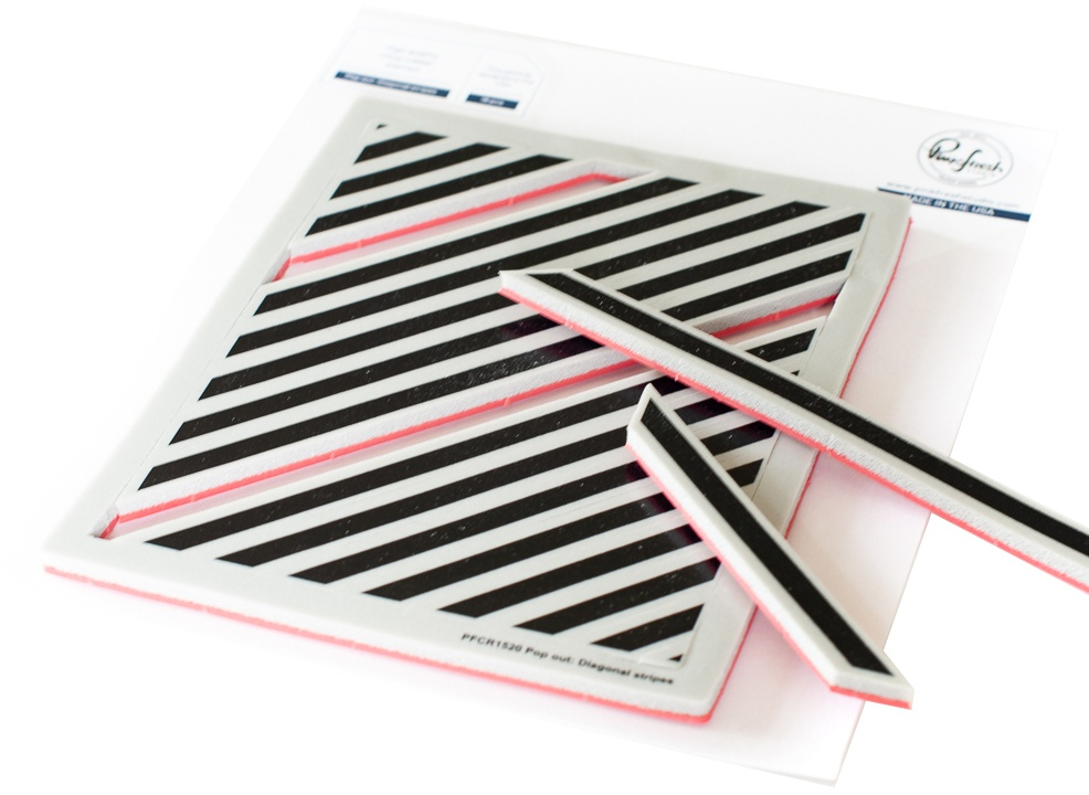 Pinkfresh Studio Cling Rubber Background Stamp Set - Pop-Out Diagonal Stripes (A2)