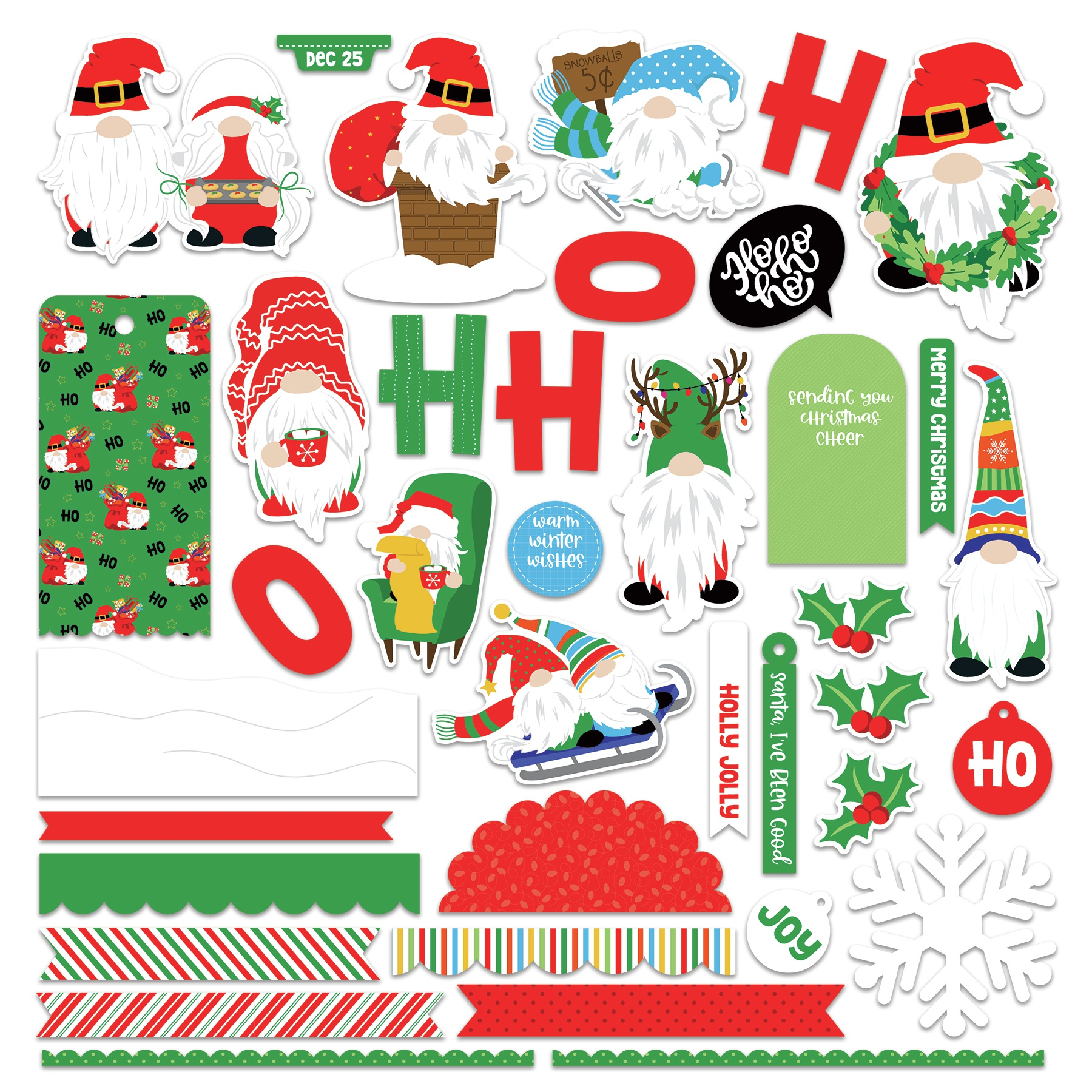 PhotoPlay Collection Card Kit Stickers-Gnome For Christmas