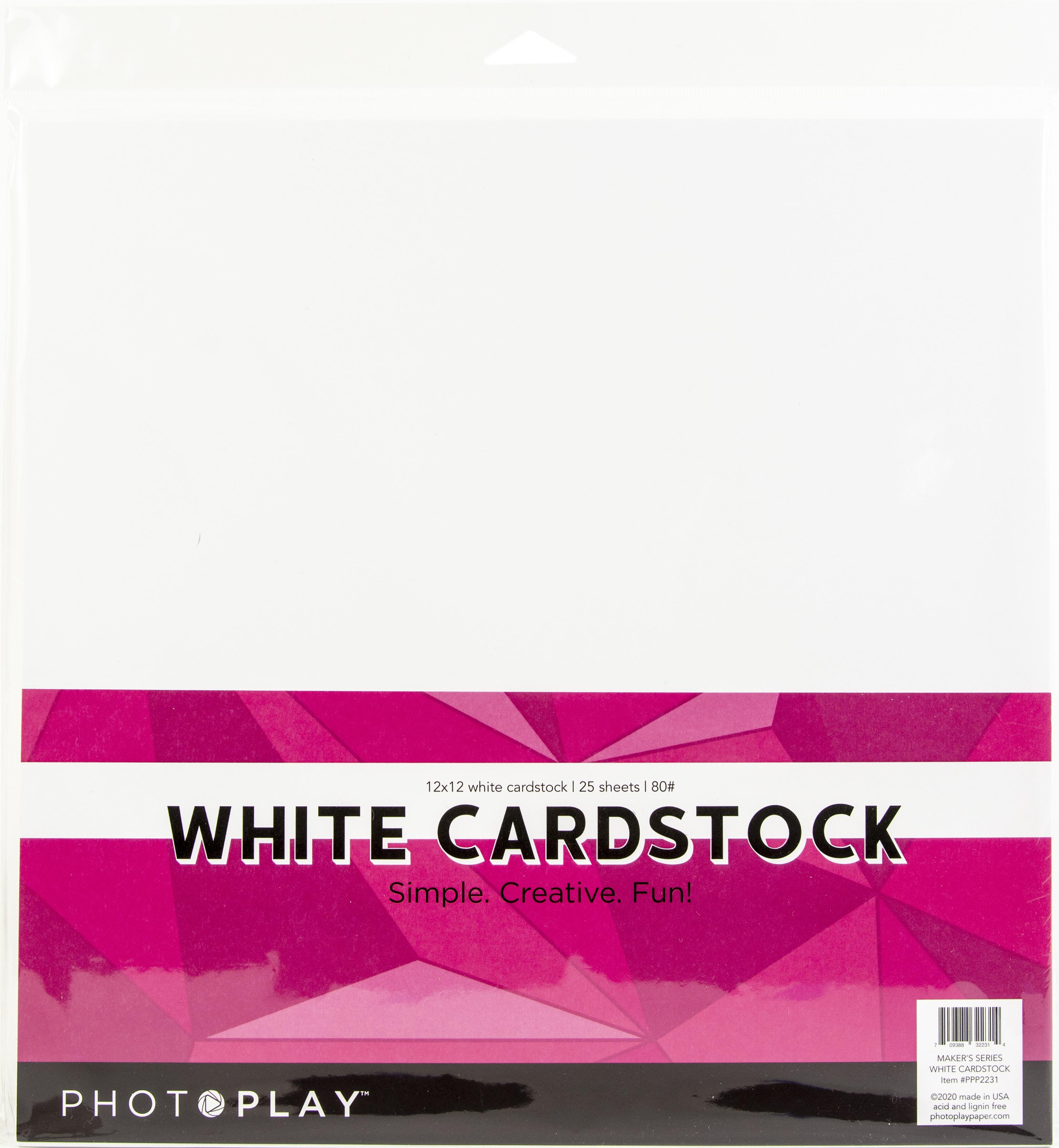PhotoPlay Maker Series 80lb Cardstock 12X12 25/Pkg-White
