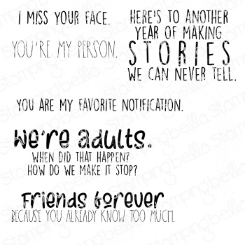 Stamping Bella Cling Stamps-I Miss Your Face Sentiment Set