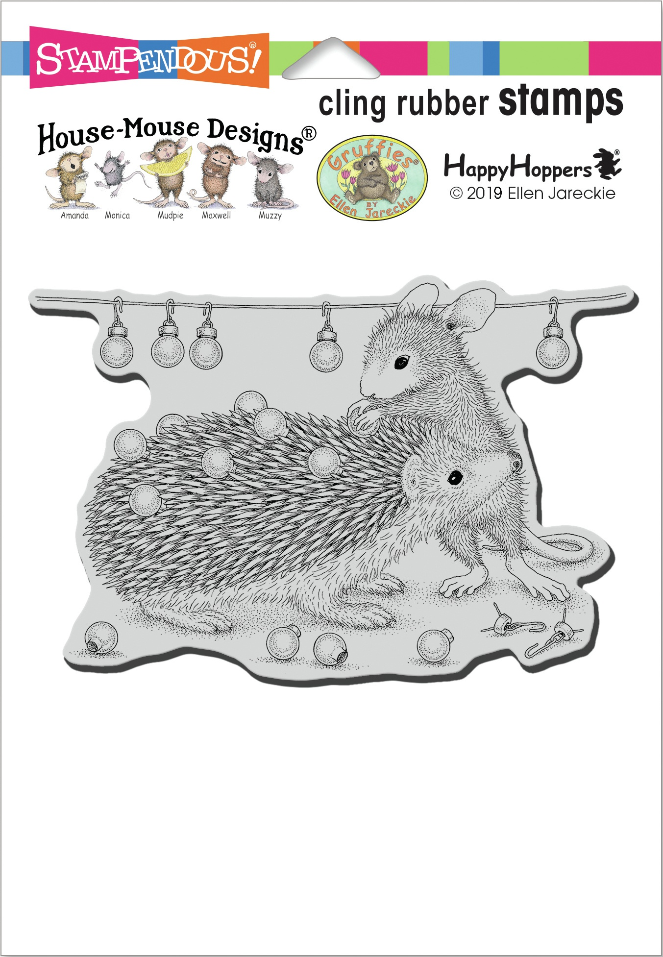 Stampendous House Mouse Cling Stamp-Holiday Hedgehog