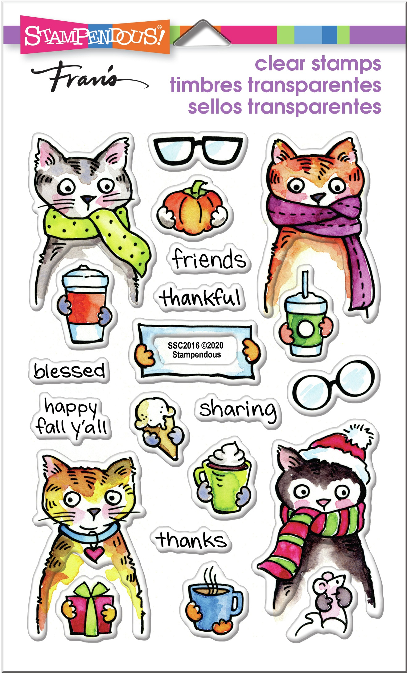 Stampendous Perfectly Clear Stamps-Thankful Kitty