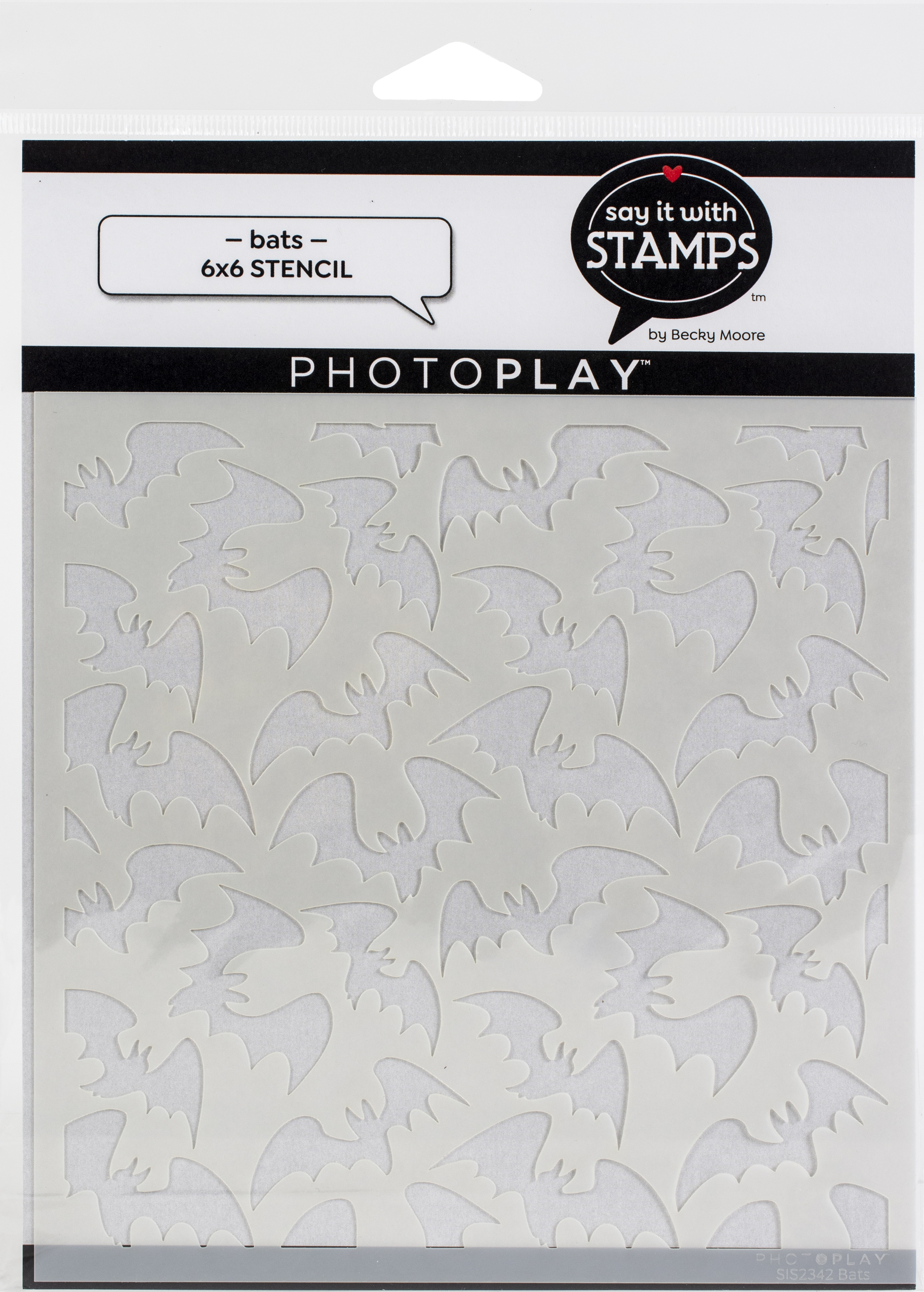 PhotoPlay Say It With Stamps Stencil 6X6-Bats