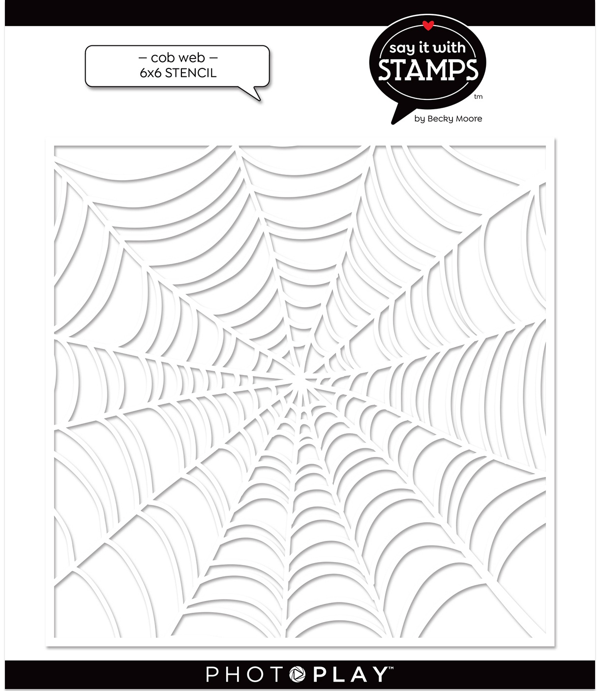 PhotoPlay Say It With Stamps Stencil - Cobweb