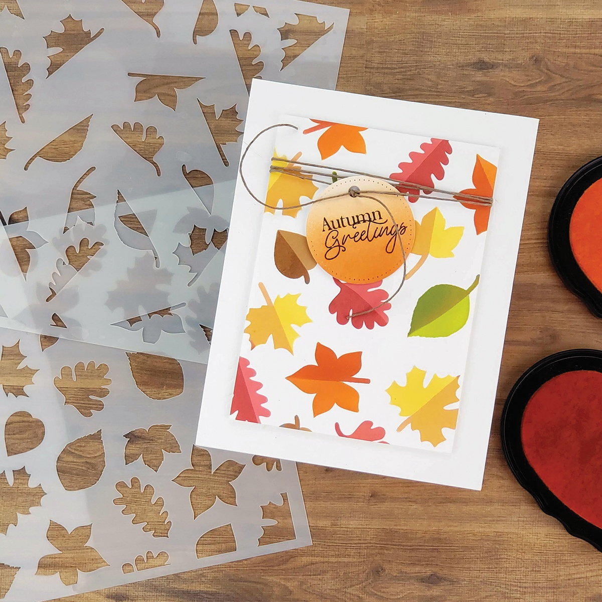 PhotoPlay Say It With Stamps Stencil - Fall Leaves, 2 Layer