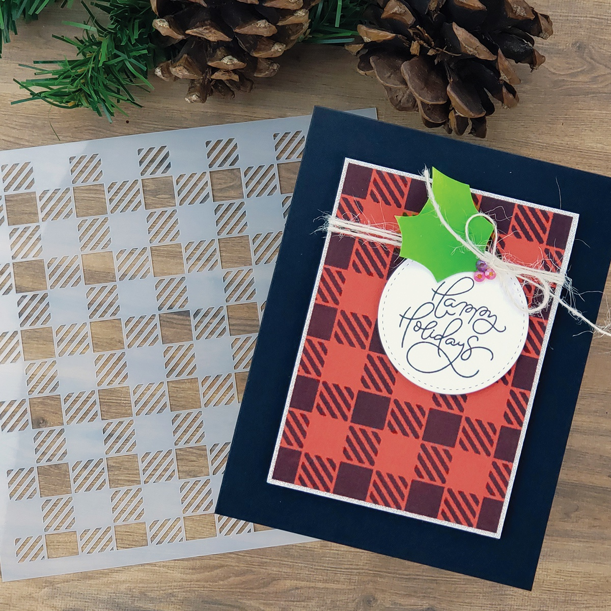 PhotoPlay Say It With Stamps Stencil - Gingham
